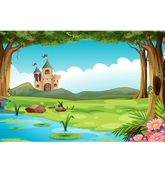 Castle and pond vector image