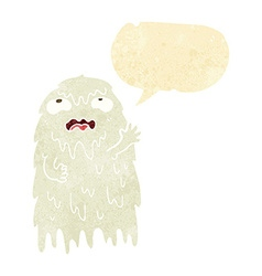gross cartoon ghost with speech bubble vector image vector image