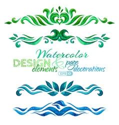 set of watercolor design elements vector image vector image