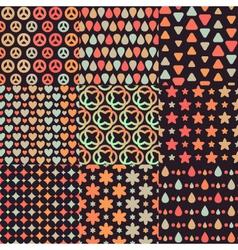 Big set of nine brown retro seamless patterns vector image
