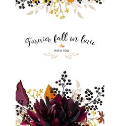floral design card burgundy dahlia flower yellow vector image vector image