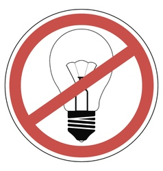 Incandescent bulb banned vector image