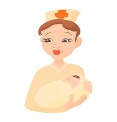 Nurse holding a newborn baby icon cartoon style vector image