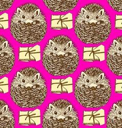 Sketch hedgehog and present in vintage style vector image vector image