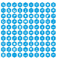 100 telecommunication icons set blue vector