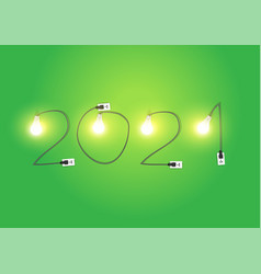 2021 new year with creative light bulb idea design vector image