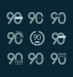 90 year anniversary set celebration template vector