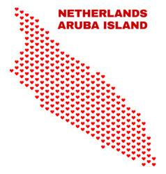 aruba island map - mosaic of lovely hearts vector image
