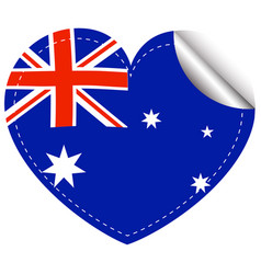 Australia flag in heart shape vector