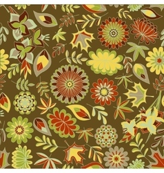 Autumn seamless pattern with flowers and leaves vector