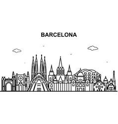 Barcelona city tour cityscape skyline line outline vector