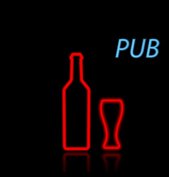 beer bottle and glass neon sign on a black vector image