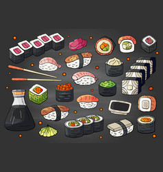 big set japan sushi and rolls collection on vector image
