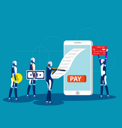 bill payment robots and mobile payment concept vector image