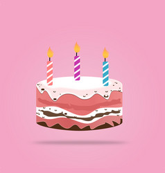 birthday cake with candle design isolated on vector image