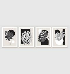 botanical minimal wall art design composition vector image