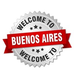Buenos Aires 3d silver badge with red ribbon vector