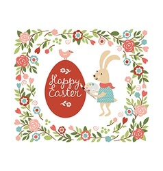 Cartoon easter rabbit paint the egg vector