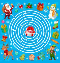 Christmas holiday labyrinth maze game santa elf vector