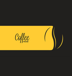 coffee banner with coffee bean on black and yellow vector image