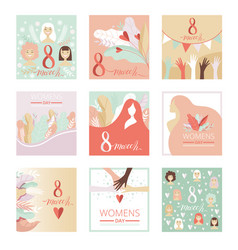 Collection of 8 march womens day greeting cards vector