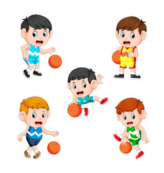 Collection of the basketball children player vector