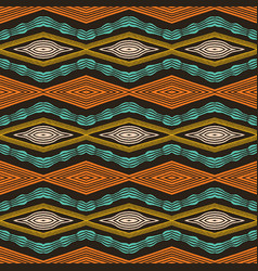 Colorful hand drawn african tribal diamonds vector