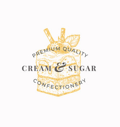 cream and sugar premium quality confectionary vector image