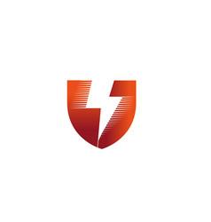 Creative red shield bolt logo vector
