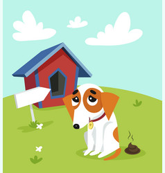 cute jack russell terrier pooping in front of its vector image vector image