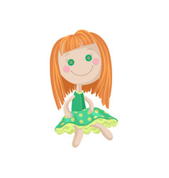 cute soft redhead doll in a green dress sewing vector image