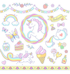 Cute unicorn set vector