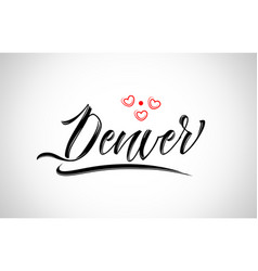 Denver city design typography with red heart icon vector
