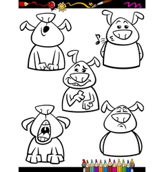 Dog emotion set cartoon coloring page vector