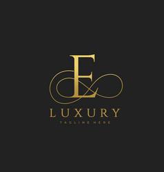 e luxury letter logo design vector image