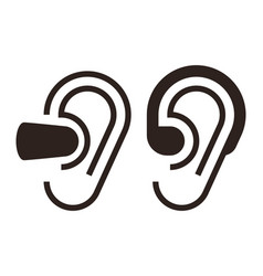 Earplugs and hearing aid sign vector