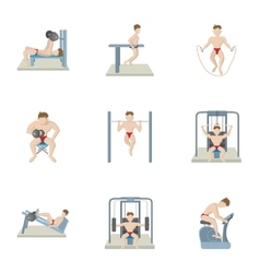 Exercises in gym icons set cartoon style vector