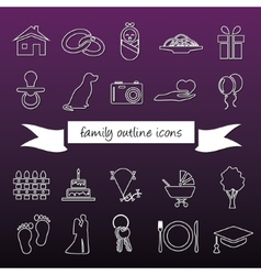 family outline icons vector image