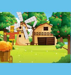 Farm scene with farmhouse and windmill vector