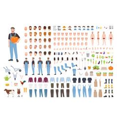 farmer or agricultural worker avatar set or diy vector image