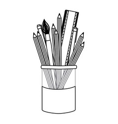 figure coloured pencils in jar icon vector image