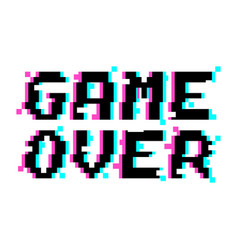Game over pixel glitch vector