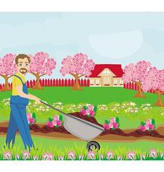 Gardener planting flowers vector