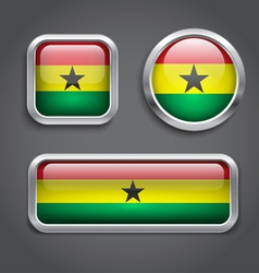 Ghana flag glass buttons vector image