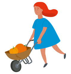 girl carrying pumpkins harvest in wheelbarrow vector image