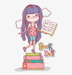 Girl read books to learn in literature day vector