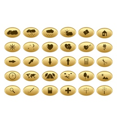 gold web buttons - set vector image