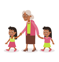 Grandmother and granddaughter twins walking vector