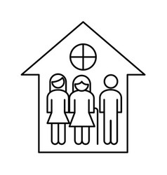 Grandparents couple with son in house line style vector