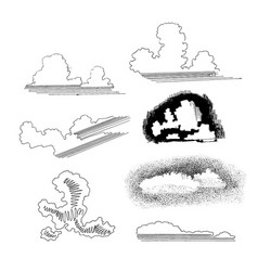 hand drawn sketch of abstract clouds vector image